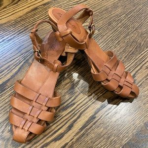 Madewell brown leather cage wedge sandal, 8.5 Med